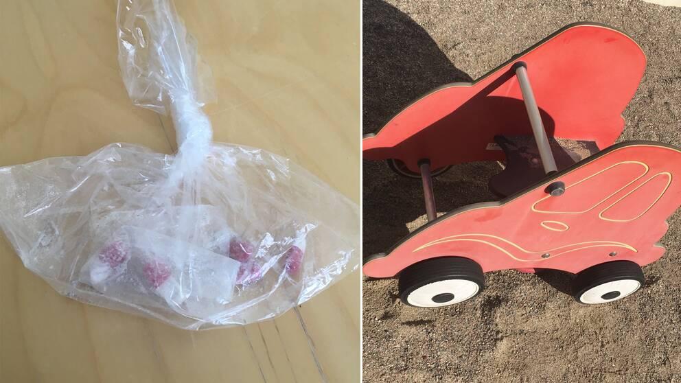 Polisens bilder på påsen med knark och en gunga i form av en bil på lekplatsen i fråga.