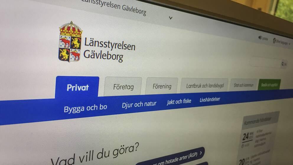 Länsstyrelsen Gävleborgs webbplats.