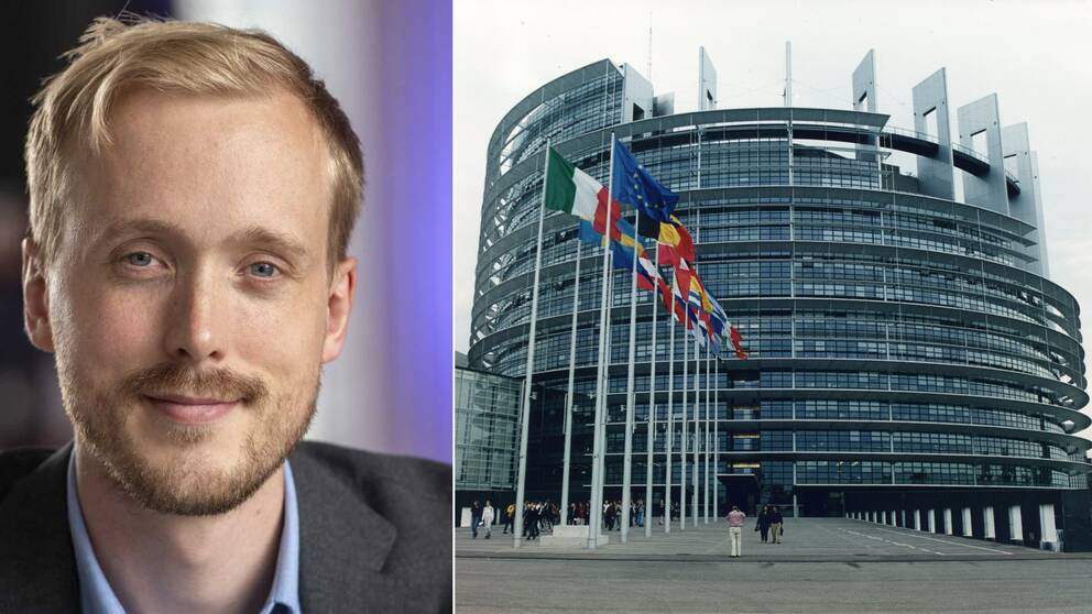 Till vänster en bild på Viktor Almqvist, pressekreterare på Europaparlamentets presstjänst. Till höger, en bild på Europaparlamentet i Bryssel.