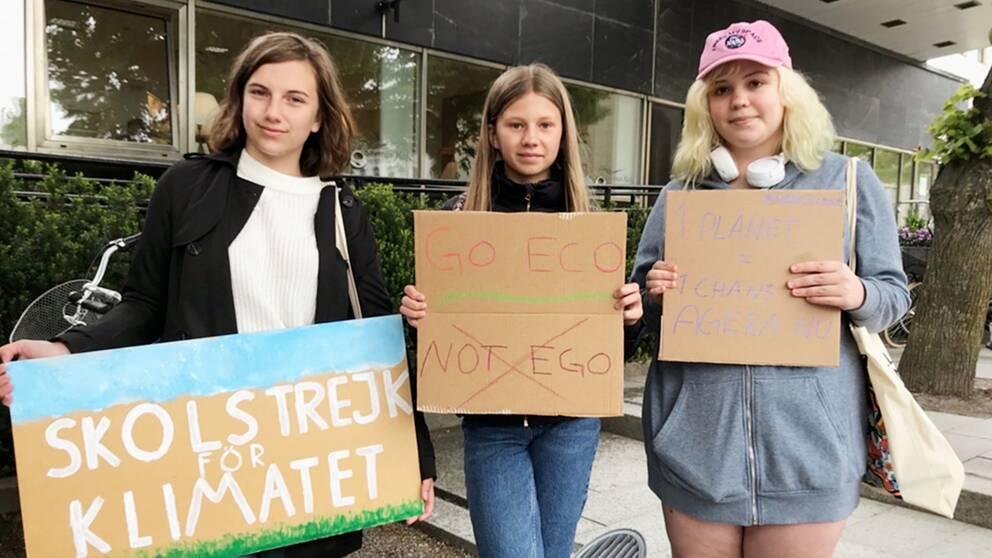 Jonna Westin, Elina Karlsson och Linn Bergkvist med egentillverkade skyltar om skolstrejk för miljön.