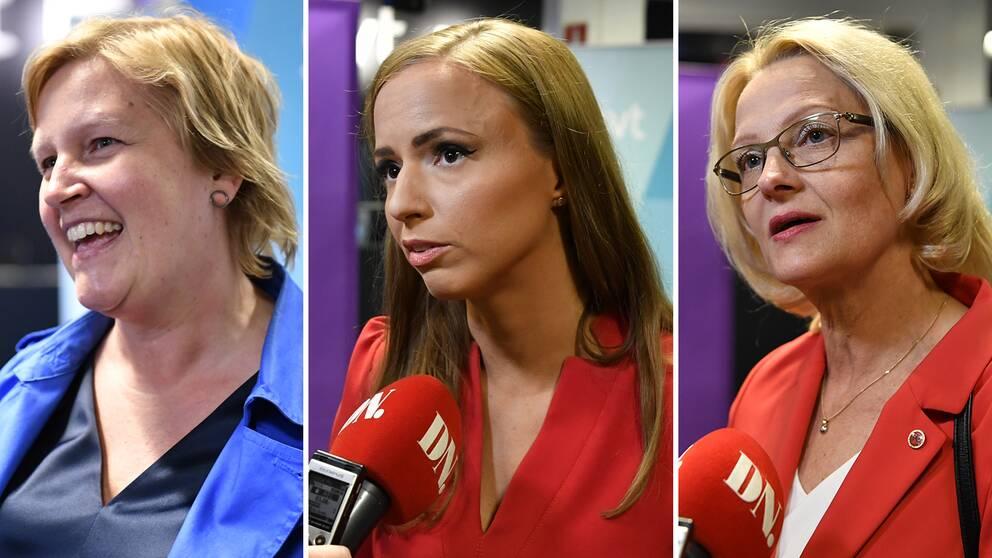 Karin Karlsbro (L), Sara Skyttedal (KD) och Heléne Fritzon (S) anländer till SVT:s EU-valsslutdebatt på fredagskvällen