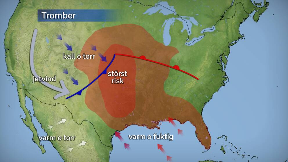 Tromber är vanliga i USA och dödar i genomsnitt 60 personer per år. Det värst drabbade område kallas Tornado alley och ligger mellan South Dakota och Texas.