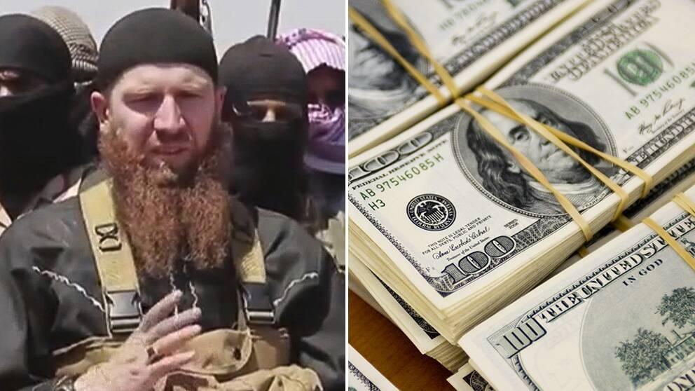 Isis-medlem och dollarsedlar.