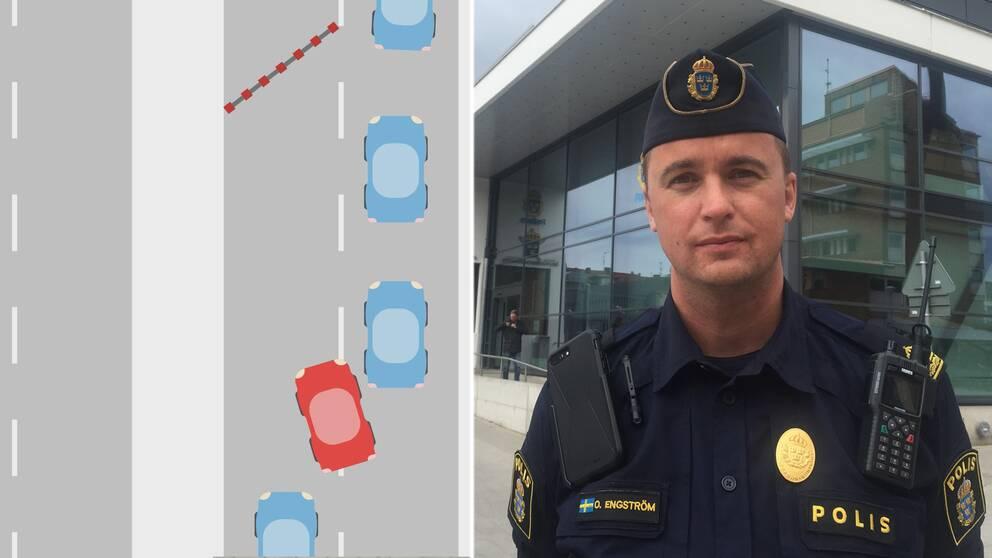 I klippet kan du se exempel på vad som är okej att göra och inte. Ola Engström, trafikpolis i Halland, svarar även på vad som kan ge böter.