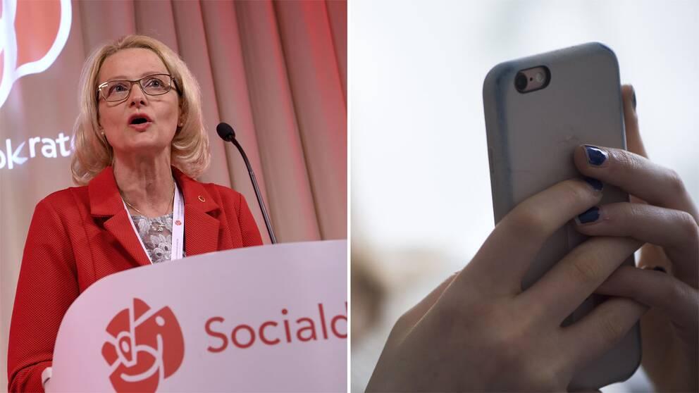 Heléne Fritzon och en mobil.