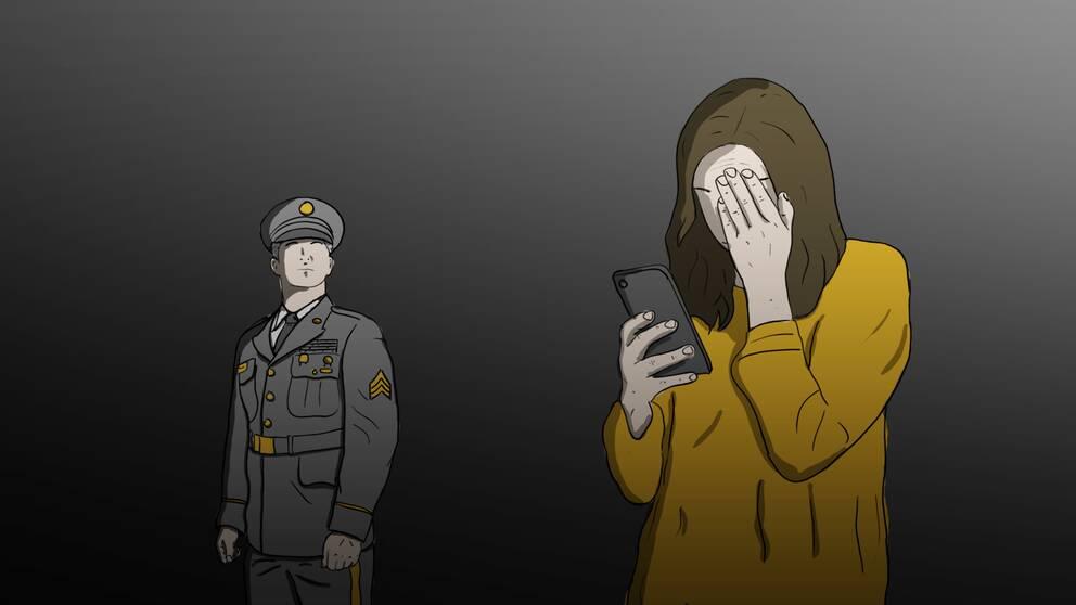 tecknad illustration av kvinna som tittar på sin mobil med huvudet i handen, i bakgrunden en man i militäruniform