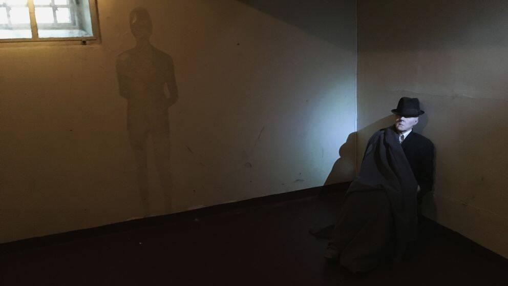 Bild på ett illustrerat spöke i Stadshusets fängelsehåla.