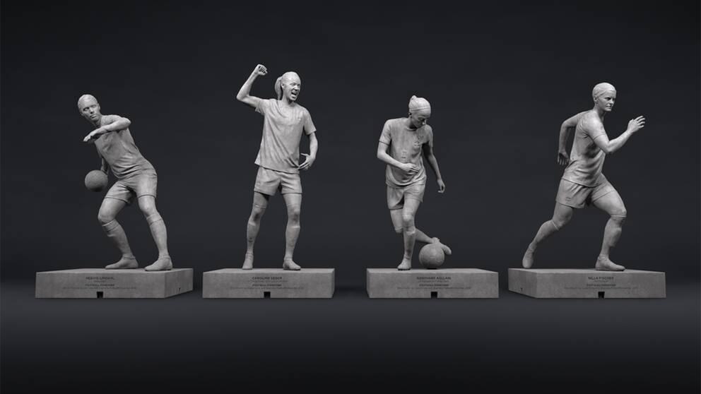 Hedvig Lindahl, Caroline Seger, Kosovare Asllani och Nilla Fischer blir statyer.