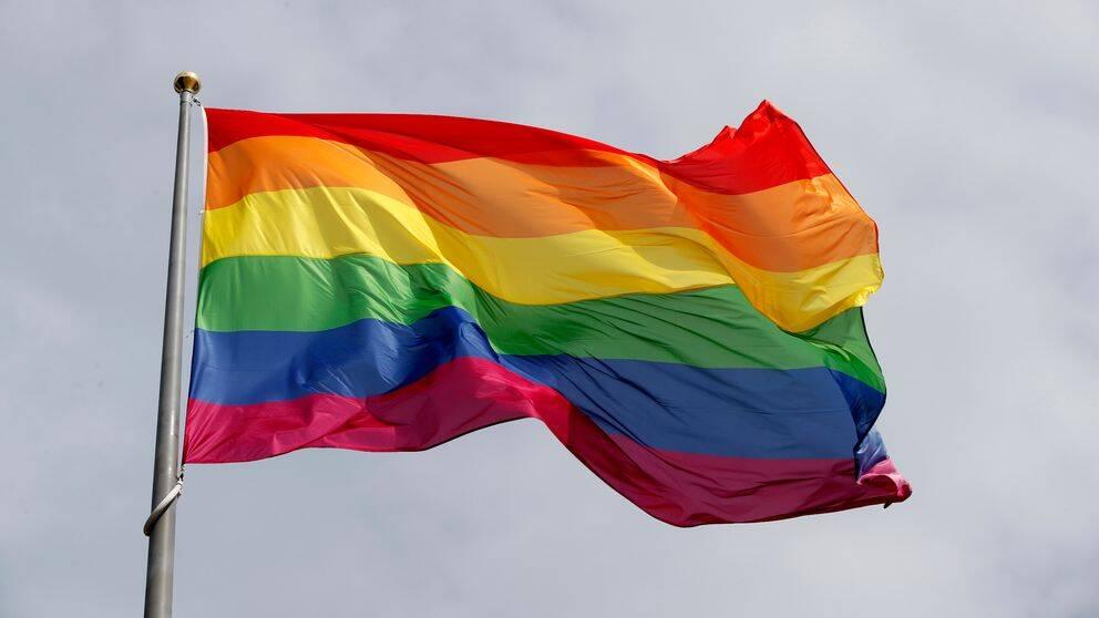 En regnbågsflagga vajar på en flaggstång.