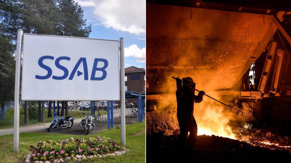 Kollage. Bild på SSAB:s skylt i Luleå till vänster och bild på en masugn på SSAB i Oxelösund.