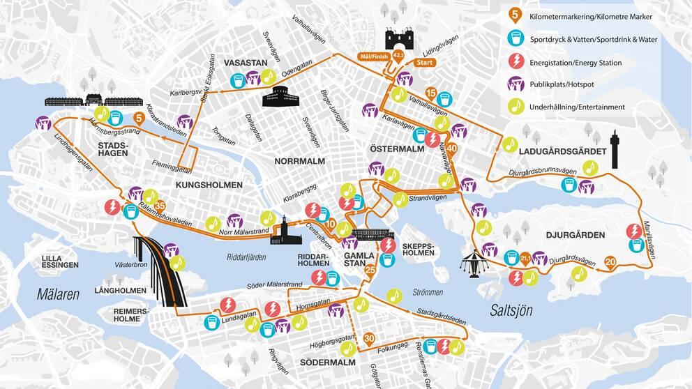 Karta över bansträckningen Stockholm marathon
