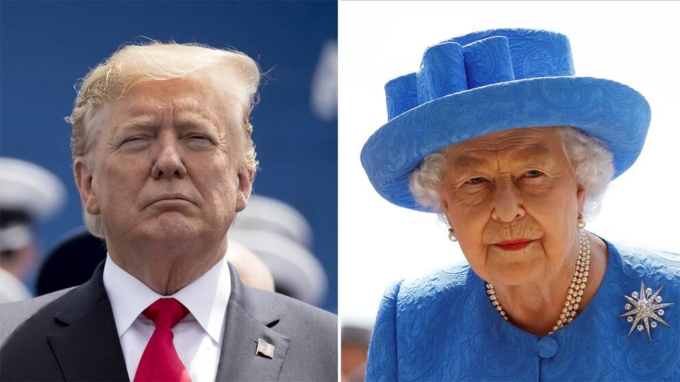 Donald Trump och drottning Elizabeth.