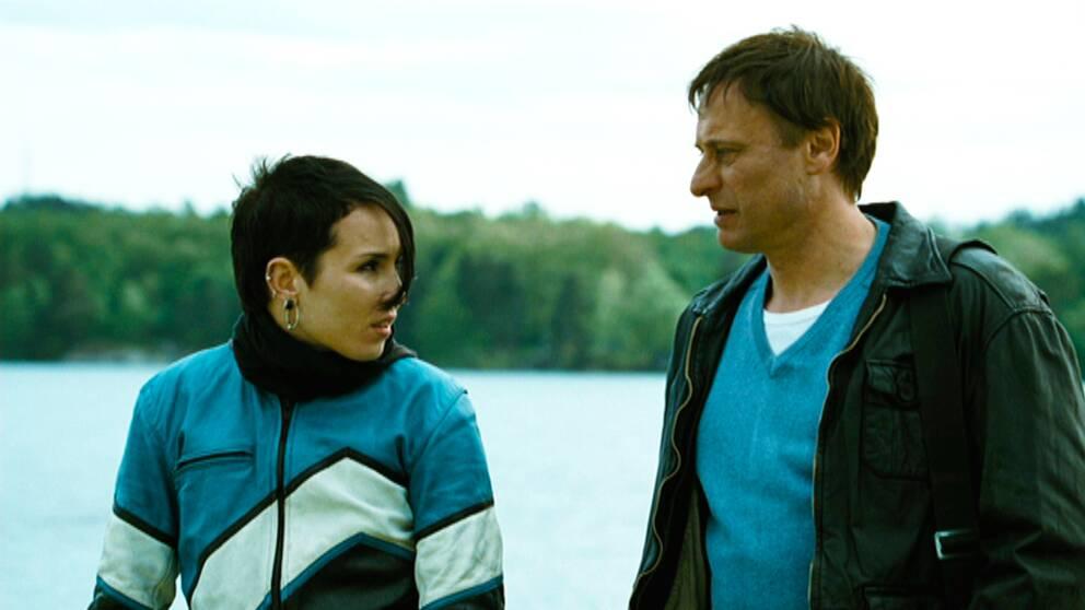 Lisbeth Salander (Noomi Rapace) och Mikael Blomkvist (Michael Nyqvist) 2014.
