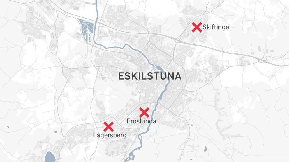 En karta över Eskilstuna med områdena Skiftinge, Lagersberg och Fröslunda markerade med kryss.