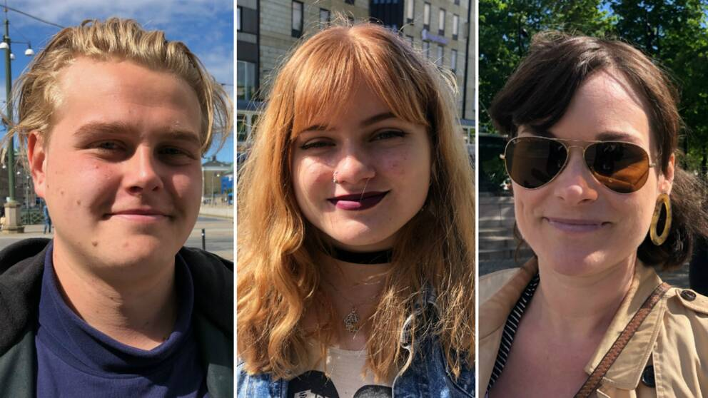 Tobias, Ida och Klara utomhus i centrala Göteborg.