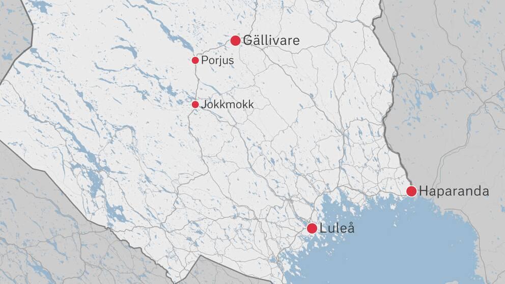 En karta över delar av Norrbotten.