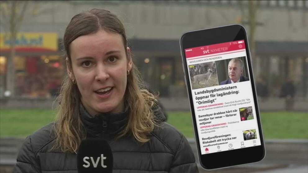 Sandra Kjellström och en bild på en telefon med SVT:s app.