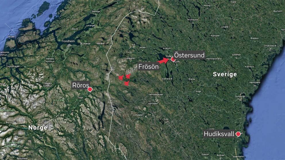karta satellitbild med orterna utmarkerade