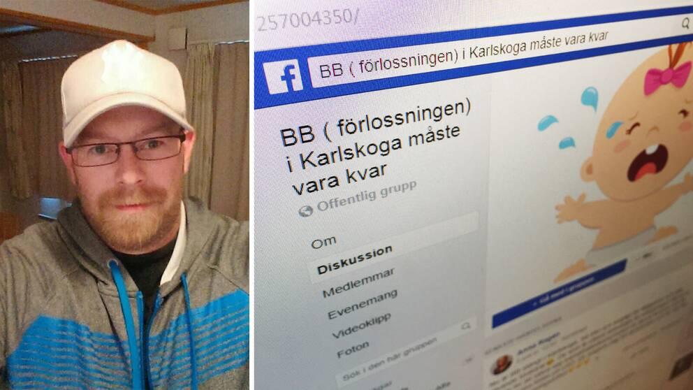"""Daniel Rondahl i vit keps och rödlätt skägg. Bredvid en bild på en datorskärm som visar Facebook-gruppen """"BB (förlossningen) i Karlskoga måste finnas kvar""""."""
