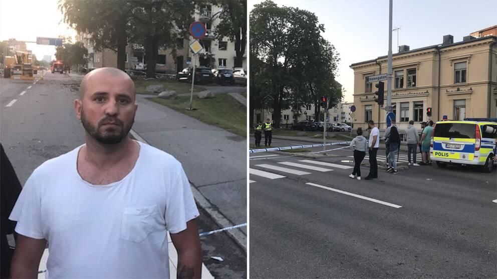 Toni Aziz befann sig tillsammans med sin mamma i deras lägenhet alldeles vid explosionen när den inträffade. Hans mamma fick åka till sjukhus men klarade sig undan allvarliga skador.