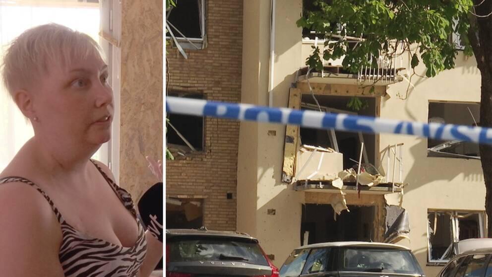 Regina står och pekar mot fönstren i sin lägenhet. De är trasiga och spånskivor täcker den skadade väggen.