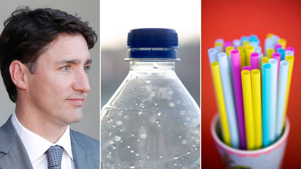 Trudeau, en plastflaska och sugrör