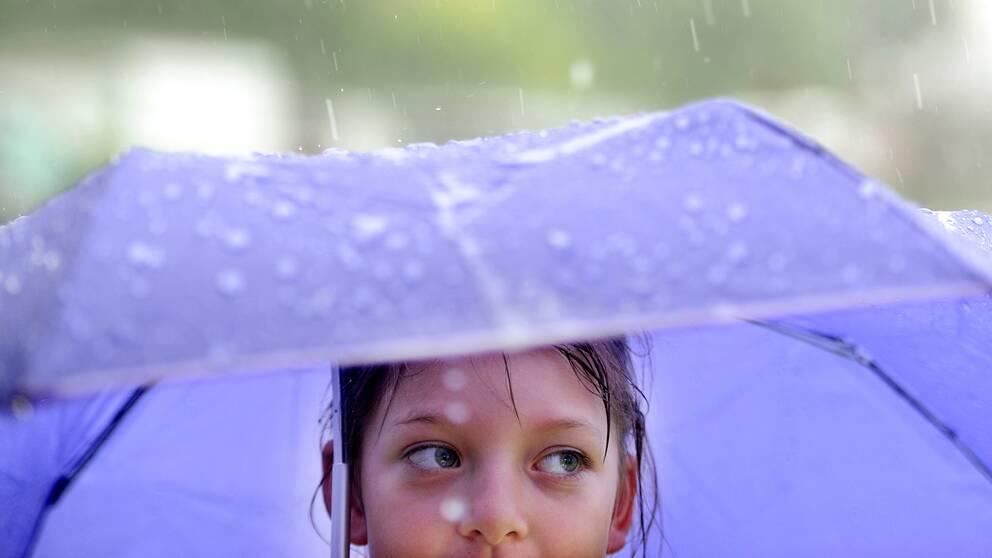 Flicka under paraply.