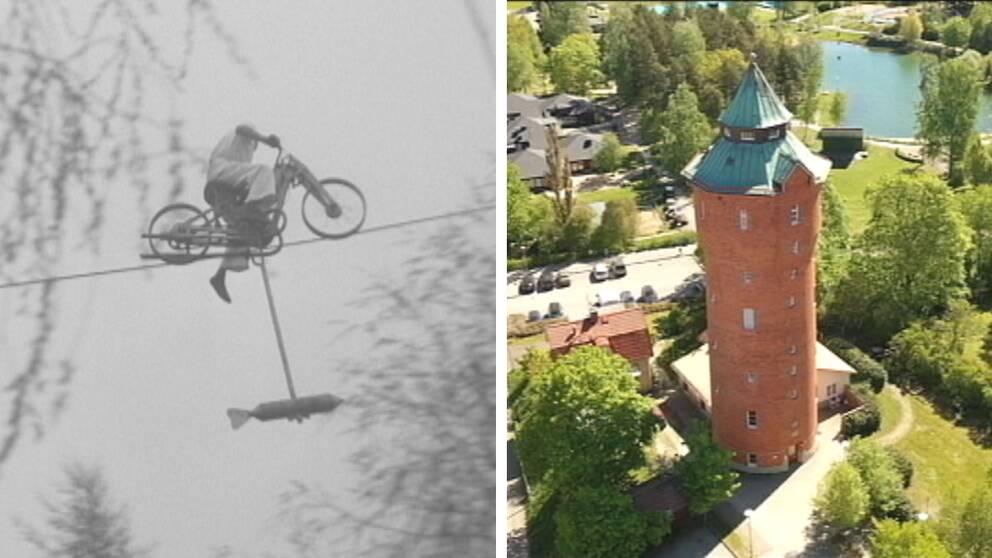 Bob Gerry åker mc på lina spänd till vattentornet i Kumla.