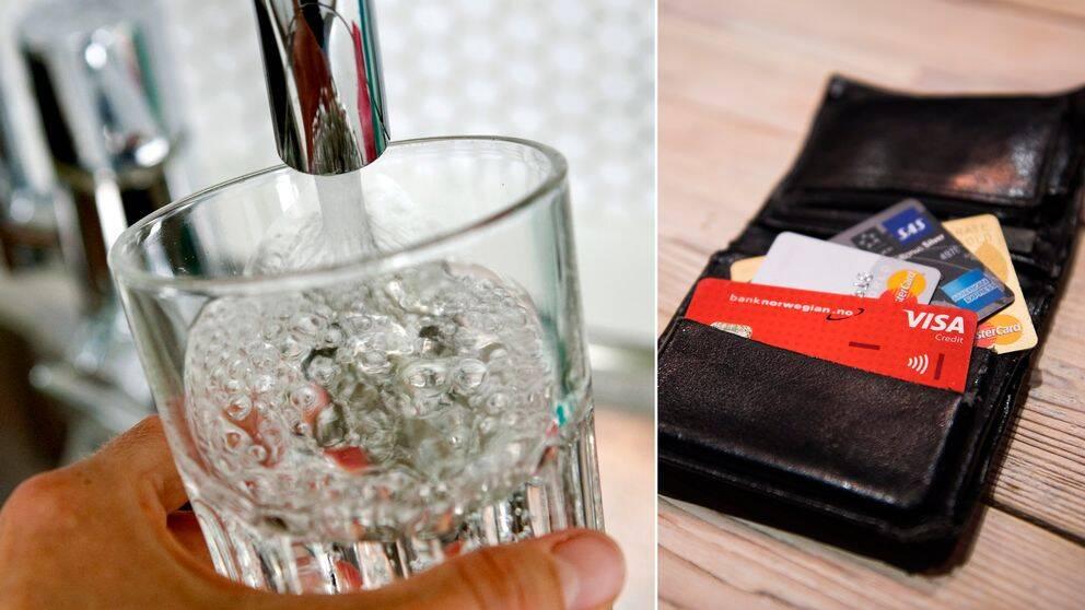Bild på vatten hälls upp i ett glas från vattenkran och bild på plånbok med olika kreditkort.