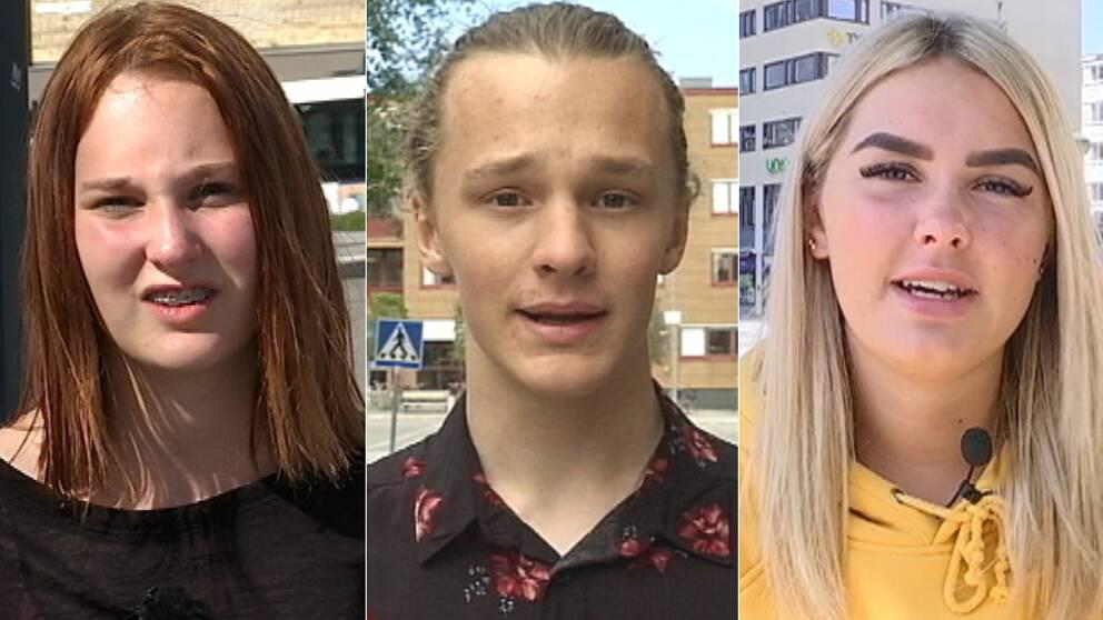 Kollage av tre bilder på tre ungdomar. En tjej i rödbrunt hår till vänster, en blond kille i mitten och en blond tjej till höger.