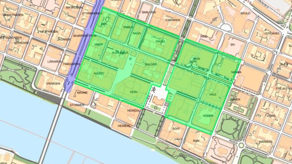 karta över Umeå centrum med markerat område