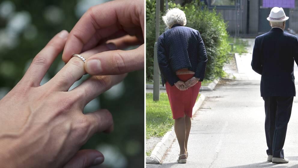 Person tar av sig sin vigselring. En äldre kvinna och en äldre man som promenerar.