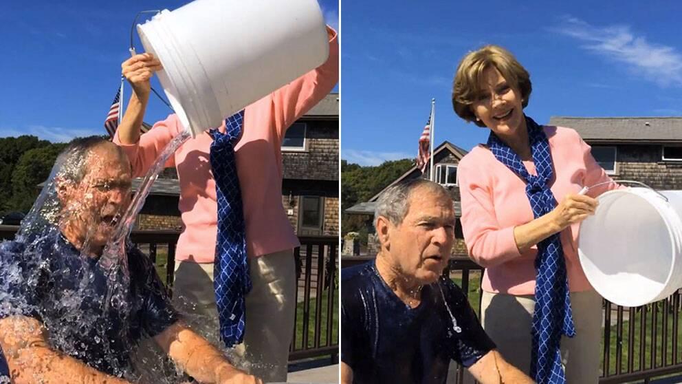 En nöjd Laura Bush häller en hink isvatten över forna presidenten George W Bushs huvud för att samla in pengar till ALS-forskning under kampanjen Ice Bucket Challenge.