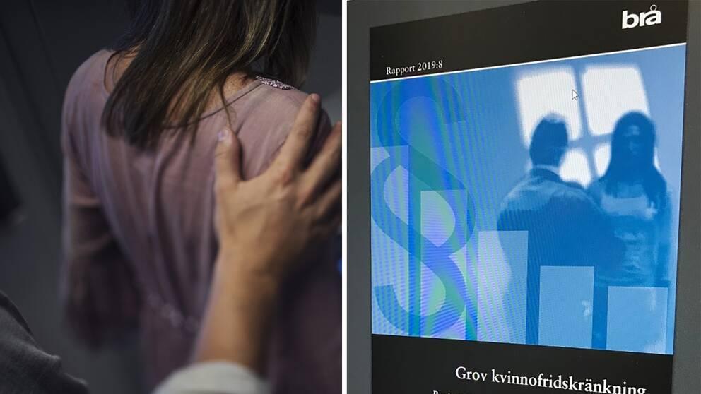 Till vänster: En man lägger sin hand på en kvinnas axel. Till höger: Rapporten om grov kvinnofridskränkning från Brå.