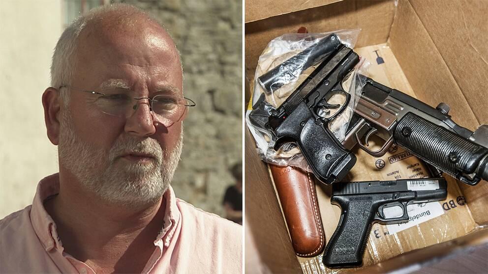 Poliskommissarie Gunnar Appelgren och en låda med beslagtagna vapen.