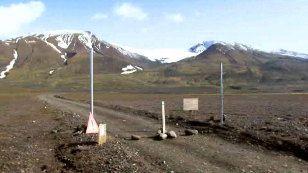 En väg nära vulkanenBárdarbunga.