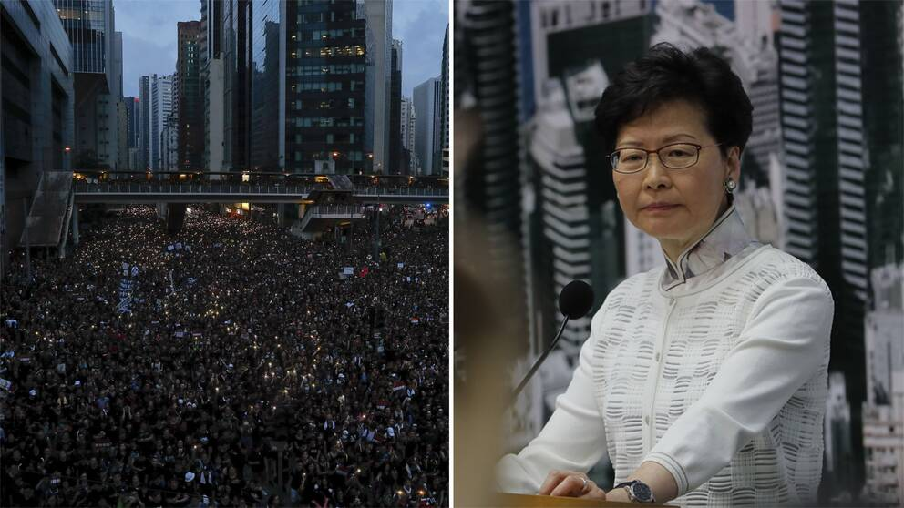 Ett hav av demonstranter i Hongkong och Carrie Lam.