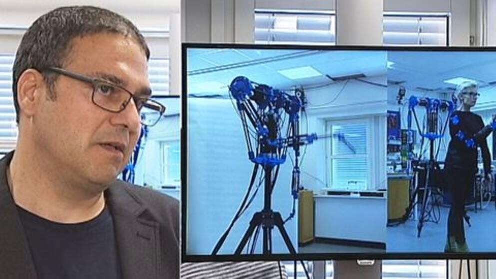 """George Nikolakopoulos, forskare vid LTU och den """"dansande roboten""""."""