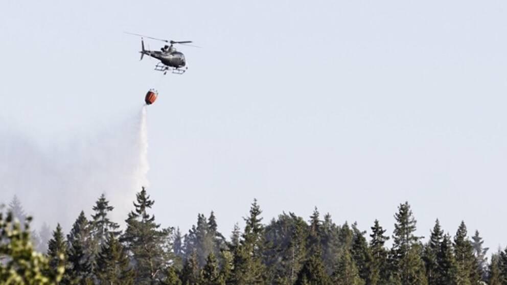 Helikopter som vattenbombar brand.