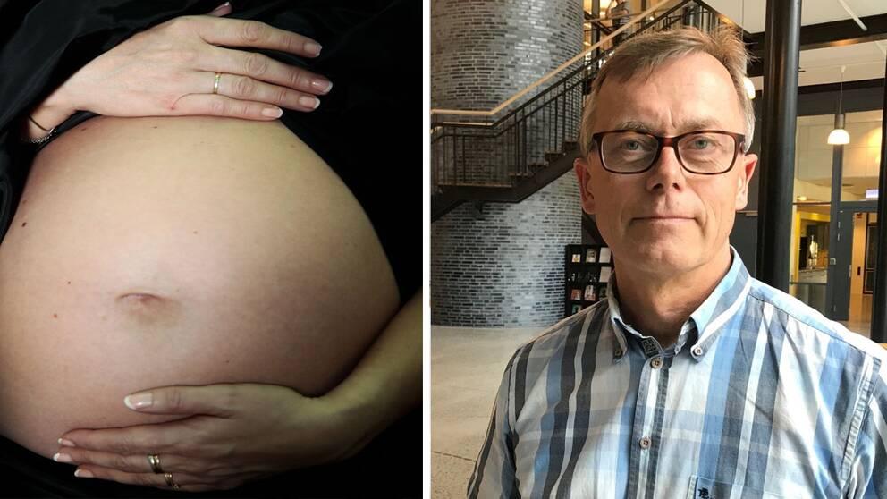 Kollage med gravid mage och Sven Oredsson, medicinsk rådgivare på Region Skåne.