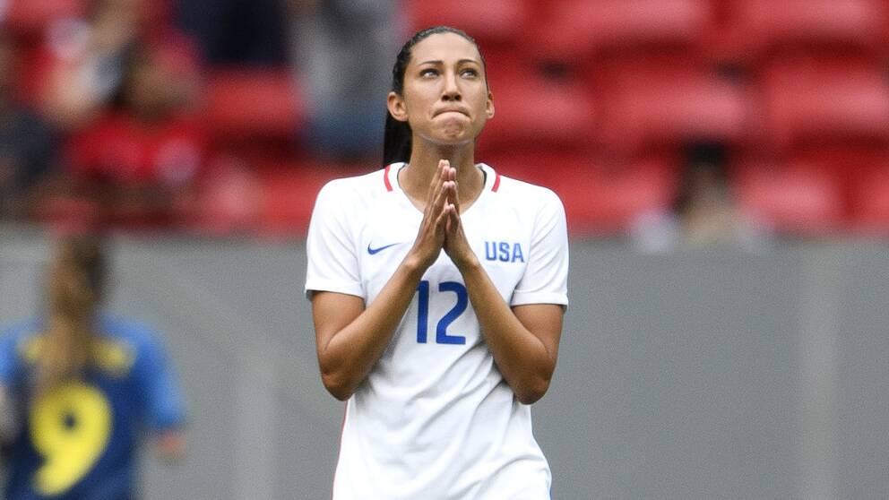 OS 2016. Christen Press deppar efter straffmissen som innebar att hennes USA åkte ur – och Sverige gick vidare.