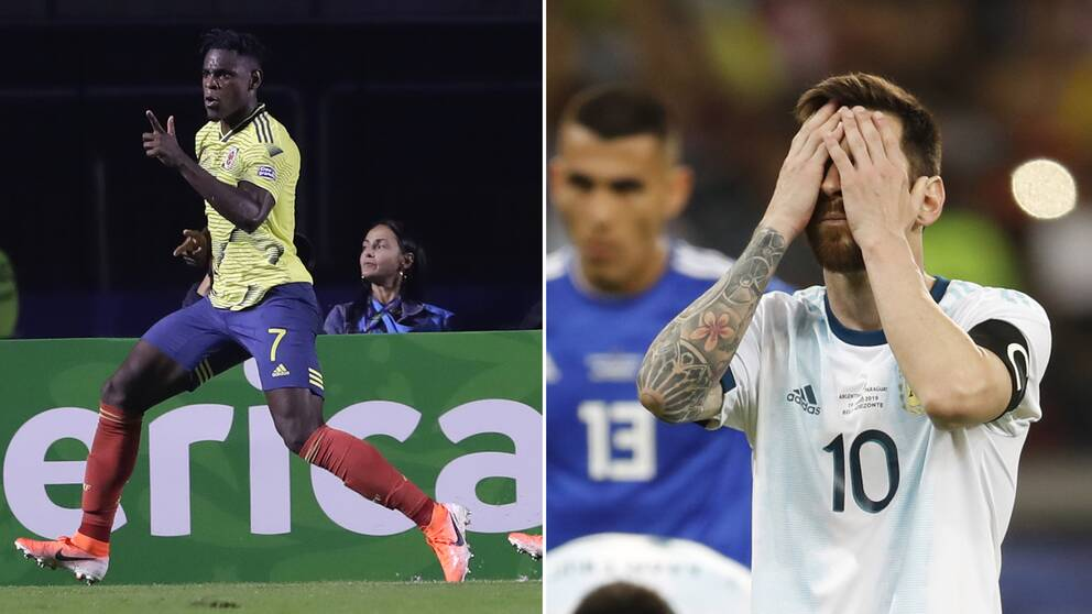 Colombias Duván Zapata och Argentinas Lionel Messi.