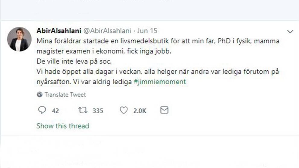 Abir Al-Sahlanis Twitterinlägg