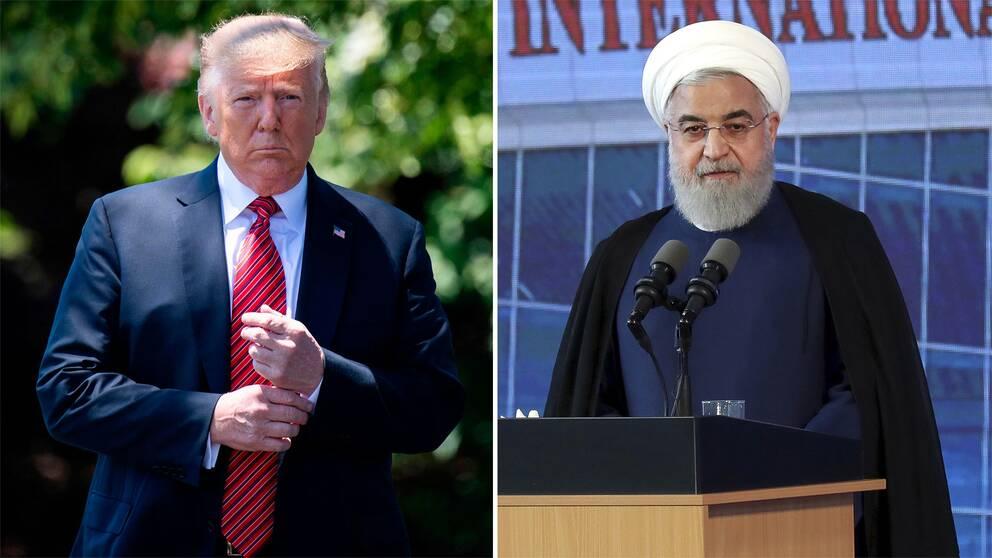 Donald Trump och Hassan Rohani.