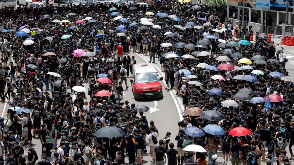 Folkmassa som demonstrerar