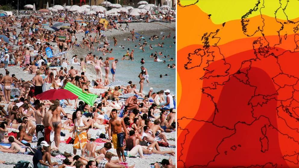 Kommande dagarna blir heta i klassiska franska semester-staden Nice, och stora delar av övriga Sydeuropa, med temperaturer uppåt 40 grader.