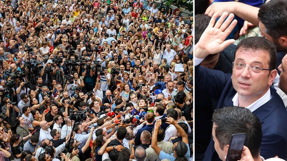 Jättelikt uppbåd av anhängare och press efter att Ekrem Imamoğlu lagt sin röst i borgmästarvalet – ett val där Imamoğlu står som segrare