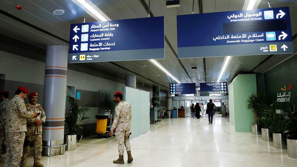 Säkerhetspådrag inne på Abha flygplats under söndagen, efter att drönarattacken utförts