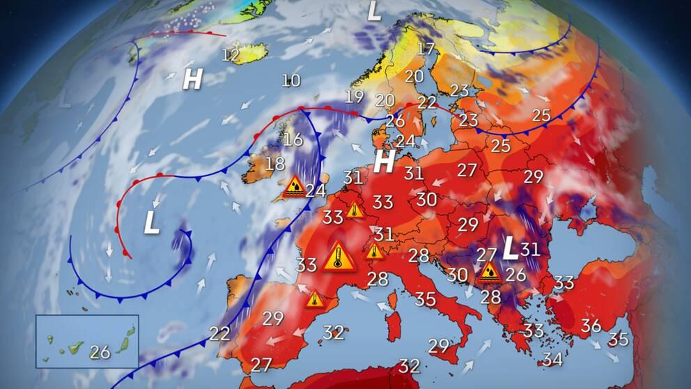 Extrem värmebölja slår mot Europa   SVT Nyheter
