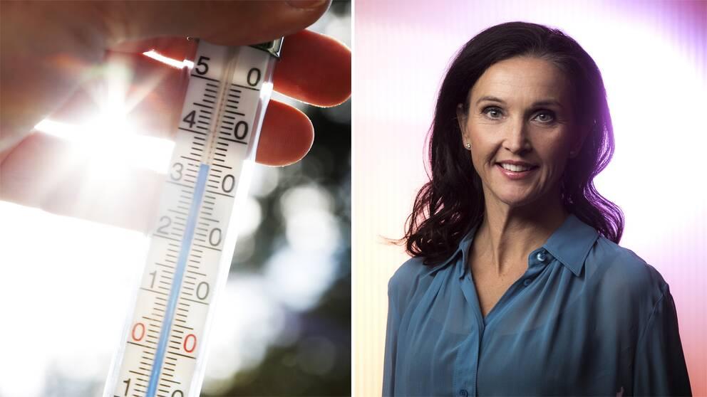 Värmetermometer, SVT:s meteorolog Pia Hultgren.